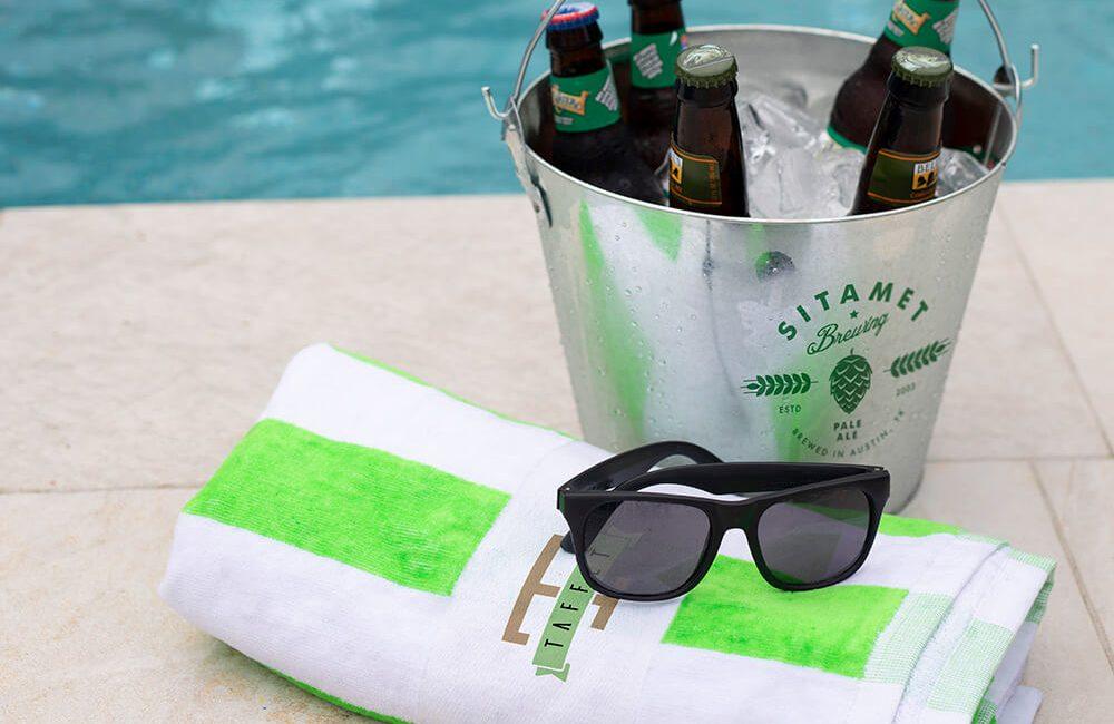 Sunglasses and towel
